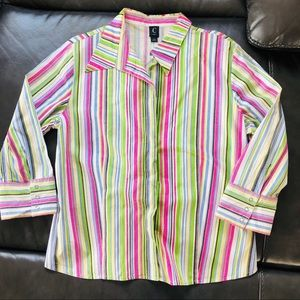 Tops - Colorful Striped Button-up